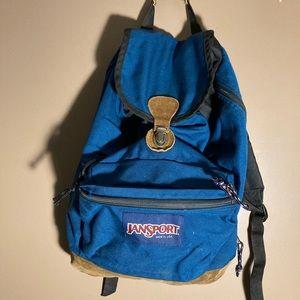 Jansport blue brown suede vintage backpack